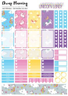 Free Printable Unicornland Planner Stickers from Cheap Planning