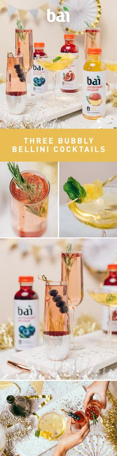Next time you have a party to host you can break out these Bubbly Bailini Cocktails and toast.  They feature three of our favorite Bai flavors, each with just 5 calories, 1 gram of sugar and no artificial sweeteners. Please drink responsibly. Must be 21+.