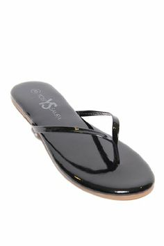 Women's Yosi Samra Patent Leather Flip Flop in Black