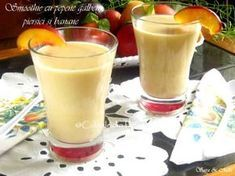 Smoothie cu pepene galben, piersici si banane Baby Food Recipes, Healthy Recipes, Healthy Food, Food Design, Milkshake, Glass Of Milk, Deserts, Food And Drink, Pudding