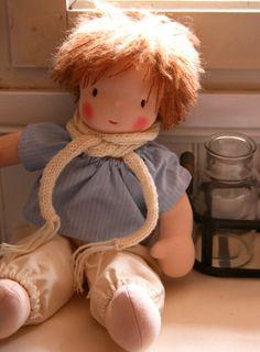 Waldorf doll Boy chestnut hair brown eyes striped by ruedubonheur
