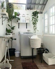153 laundry design ideas with drying room that you must try page 19 Outdoor Laundry Rooms, Modern Laundry Rooms, Bathroom Modern, Kitchen Modern, Room Interior, Interior Design Living Room, Interior Modern, Drying Room, Casa Loft