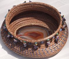 Basket of Jewels (dangling chip beads and a gorgeous agate slice). Pine needle basket.