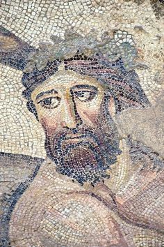 """A large mosaic in the ancient town of Edessa shows several scenes from the life of the Greek warrior Achilles. Here we see the wise centaur Chiron who is said to have educated the young Achilles. The 5/6 th century floor mosaic can be found in the """"Villa of the Amazons"""", a palatial house, that probably belonged to an important administrator of the Eastern Roman (Byzantine) Empire, who lived in Edessa .Aleppian Gardens (Haleplibahçe), Edessa, Şanlıurfa Turkey."""