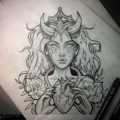 #tattoo #tatuaje #girltattoo #demontattoo #hearttattoo #sketch #tattoosketch #rosetattoo #tatuadora #tattooartist #neotraditional #neotraditattoo #facetattoo #ink