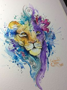 Watercolor Lion, for a tattoo.  Artist: Deborah Deh Soares. Studio Lotus Tattoo, Campinas - SP, Brazil. Facebook.com\studiolotustatuagem.
