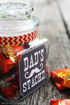 DIY Fathers Day Gift Ideas - Dads Stache Candy Jar with Free Printable label via Thoughts From Alice