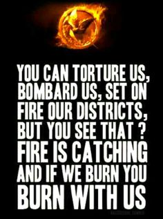 YOU CAN TORTURE US,BOMBARD US,SET ON FIRE OUR DISTRICTS,BUT YOU SEE THAT? FIRE IS CATCHING AND IF WE BURN YOU BURN WITH US.-Katniss Everdeen