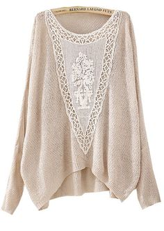 Beige Batwing Long Sleeve Hollow Embroidered