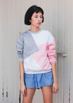 Moletom Recortes Tricolor Asian Fashion, Blouse, Tees, Long Sleeve, Sleeves, Women, Style, Sweater Hoodie, Cut Outs