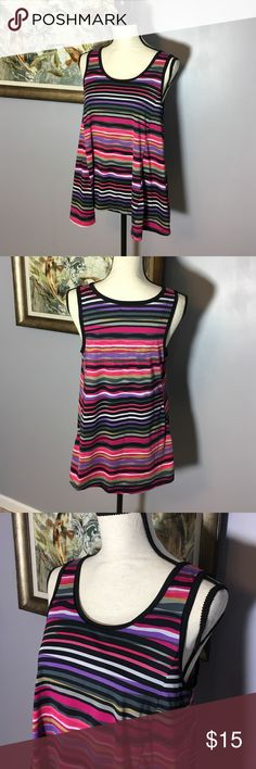 Nicole Miller Sleeveless Top Beautiful print in gorgeous colors on this flowy Nicole Miller tank.  Poly Spandex.  Size M. Excellent Used Condition. Nicole by Nicole Miller Tops