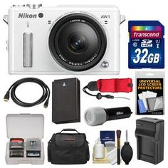Nikon 1 AW1 Shock & Waterproof Digital Camera Body with AW 11-27.5mm Lens (White) with 32GB Card + Case + Battery & Charger + LED Torch + Kit cameta camera with great warranty, 3 yr for $79
