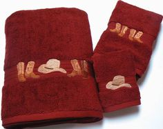 Cowboy Hats & Boots Embroidered Garnet Red Bath Towel 3 Pc Set - Bathroom Items Embroidered Bath Towels - WEST BY SOUTHWEST DECOR