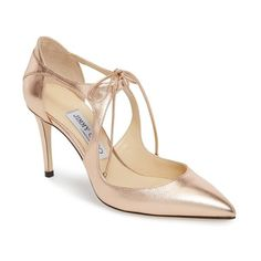 Women's Jimmy Choo Vanessa Lace-Up Pump ($750) ❤ liked on Polyvore featuring shoes, pumps, tea rose, stiletto pumps, leather shoes, jimmy choo pumps, metallic shoes and metallic pumps
