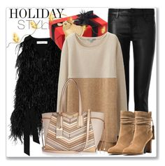 """""""Holiday Style: Leather Pants"""" by andrejae ❤ liked on Polyvore featuring Elizabeth and James, J Brand, Uniqlo, Michael Kors, River Island and holidaystyle"""