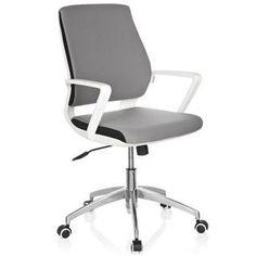 Moderna Silla de Oficina ESTRA, Elegante Diseño, Base Aluminio, Uso Hasta 8 horas, Gris