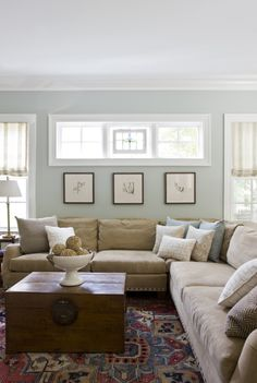 Paint color: Benjamin Moore Tranquility {House of Turquoise: Lily Mae Design} & my living room color Paint Colors For Living Room, My Living Room, Home And Living, Living Room Decor, Bedroom Colors, Small Living, Bedroom Neutral, Cozy Living, Trendy Bedroom