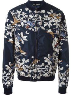Bird print bomber jacket
