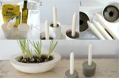 Beton Kerzenständer DIY Collage