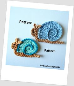 Snail Applique Crochet PDF Pattern от GoldenLucyCrafts на Etsy, $3.50