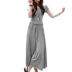 Allegra K Woman Drawstring Waist Short Sleeve Full-length Dress Heather Gray L Allegra K,http://www.amazon.com/dp/B008P5O724/ref=cm_sw_r_pi_dp_fZnDrb9DC5DA4791