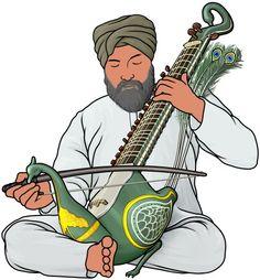 マユーリ・ビーナ(タウス) mayuri veena (taus)。インドの楽器。