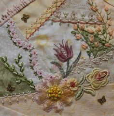 I ❤ crazy quilting embroidery . Tone on Tone DYB Round Robin Magdalena's block told me it wanted to be a sunlit meadow with lots of flowers. Who am I to argue with that? :) I do hope she likes it. ~By Humming Needles Learn Embroidery, Crewel Embroidery, Ribbon Embroidery, Embroidery Patterns, Quilt Patterns, Block Patterns, Crazy Quilt Stitches, Crazy Quilt Blocks, Crazy Quilting