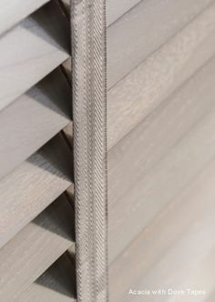 New Acacia Wooden Blinds with beautiful matching Dove coloured tapes.