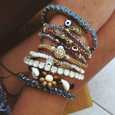 bracelets stacked up.