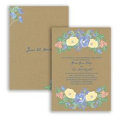 Floral Kraft Wedding Invitation - Bluebird, Yellow, Coral - Vintage at Invitations By David's Bridal