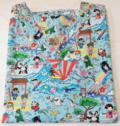 $29.97/  Women's blue short sleeved Hawaiian cartoon scrub top by Winnie Fashion, made in Hawaii ~ Ladies size XL clothing uniforms vet dental Nursing top www.stores.ebay.com/Shellys-Sweet-Finds