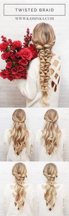 Twisted Braid Hair Tutorial (Kassinka) / http://www.himisspuff.com/easy-diy-braided-hairstyles-tutorials/77/
