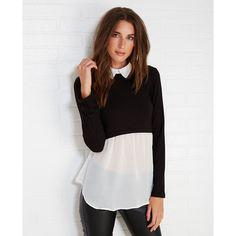 Layered Collared Shirt With Chiffon Hem ($25) ❤ liked on Polyvore featuring tops, black, chiffon shirt, layered tops, black long sleeve shirt, long sleeve chiffon top and chiffon top