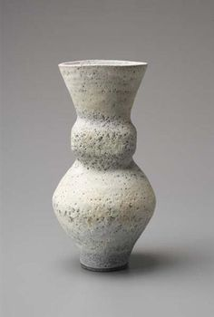 """Goitre"" vase, Mixed clay body, pitted glaze combining with the body material beneath to create a blue and white integral spiral. 13 in. (33 cm) high, c.1986"