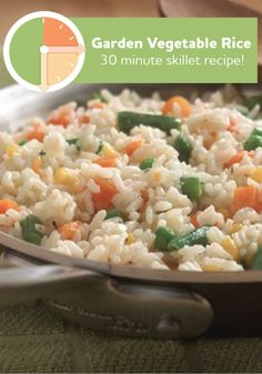 Skillet dinners are so simple! Try this delicious Garden Vegetable Rice recipe, it will only take you 30 minutes to make.