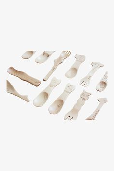 Two Pieces Cute Cartoon Wood Spoon For Kids
