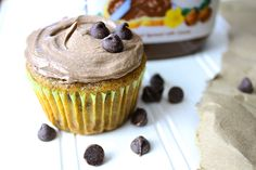 Super moist and oh so yummy Chocolate Chip Banana Cupcakes with creamy Nutella Buttercream Frosting! :)
