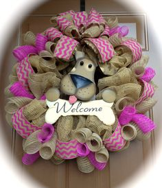 Welcome Mesh Wreath with Dog by marinascustomdesigns on Etsy