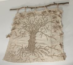 Tree of Life embroidered wall hanging thread by NellsEmbroidery, $275.00