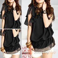 mariposa negro manga superior blusa de gasa para la señora Peplum, Manga, Clothing, Women, Fashion, Vestidos, Chiffon Blouses, Fashion Trends, Sweater Vests