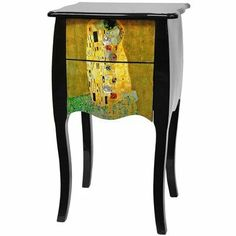 """Oriental Furniture Klimt Two Drawer Cabinet, The Kiss by ORIENTAL FURNITURE. $248.00. From our collection of art decoupage lacquer furniture on amazon.com. Beautiful lacquered decoupage drawer faces, gustav klimt's the kiss. 16.00""""w by 13.50""""d by 28.25""""h, two drawer end table, nightstand or plant stand. Queen anne style two-drawer cabinet with a scalloped top and curved sides and legs. drawers feature a vibrant reproduction of gustav klimt's masterpiece """"the kiss"""" and glass..."""