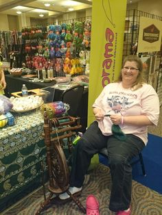 Spinning at Yarnorama at Houston Fiber Fest