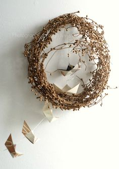 Eco friendly paper boat garland - one of a kind - celebration - wedding - mobile - origami. $33.00, via Etsy.