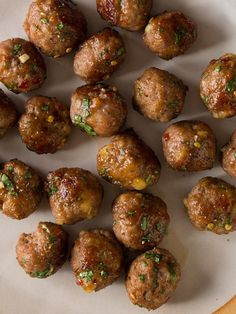 Herb Cocktail Meatballs with Honey Mustard Sauce – if you love cooking check out saltedtv.com - enter salted3 for three months full access for free! / Spoon Fork Bacon