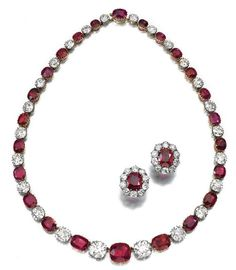 Ruby and diamond necklace and earrings, c. late 19th cent., four rubies and four diamonds added to lengthen the necklace c. 1884