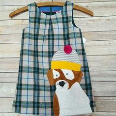 NWT Mini Boden Plaid Dog Pinafore Style Dress Size 4 5 $54.50 Green Gray Wool N #MiniBoden #Pinafore #CasualFormalParty