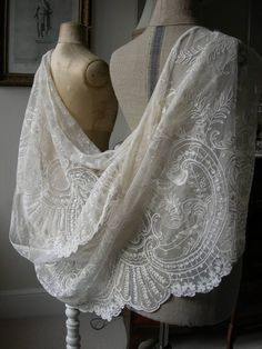 Stunning antique French hand embroidered tulle lace wedding flounce