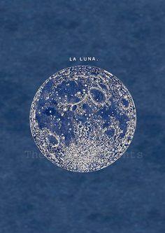 Full Moon Print Poster Vintage Image to Frame. $22.00, via Etsy.