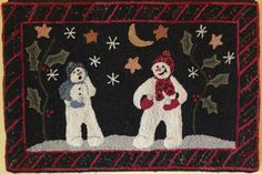 """""""First Snowfall"""" by Blackbird Designs, hooked by Marjorie Gilbert Anderson"""