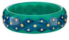 Love the green and Blue. Minty green vintage Bakelite bracelet by Mark Davis.